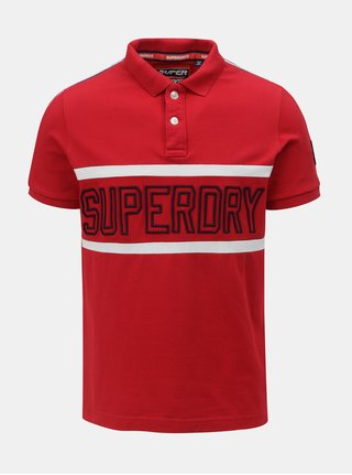 Červené pánské polo tričko s nášivkou na rukávu Superdry