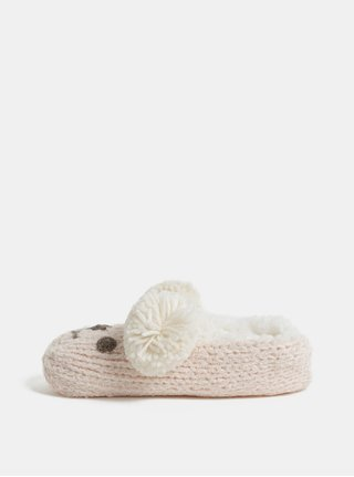 Set cadou de papuci roz-crem impletit in forma de soarece Something Special