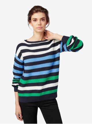 Bílo-modrý dámský pruhovaný svetr Tom Tailor 31e301f0b6