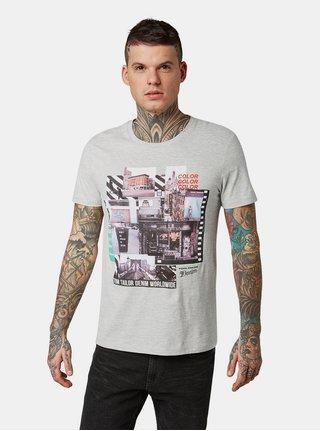 Tricou barbatesc gri melanj cu imprimeu Tom Tailor Denim