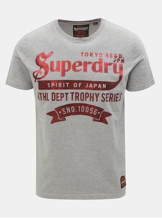Šedé pánské tričko s krátkým rukávem a potiskem Superdry 88c522059d
