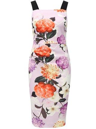 Rochie teaca mov deschis cu model floral si bretele Dorothy Perkins