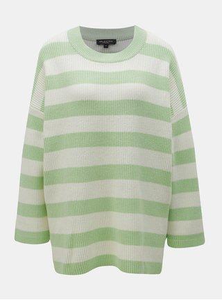Krémovo-zelený pruhovaný volný svetr Selected Femme Neo