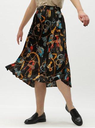 Černá vzorovaná plisovaná midi sukně VILA Sanka