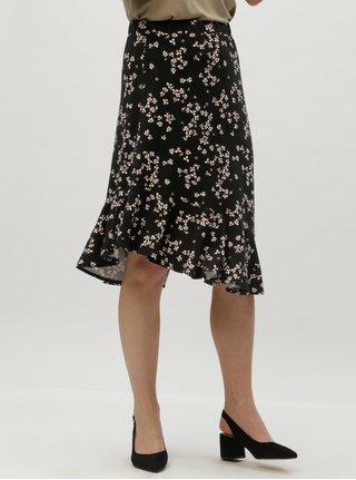 Čierna kvetovaná sukňa s volánom VERO MODA Bloom