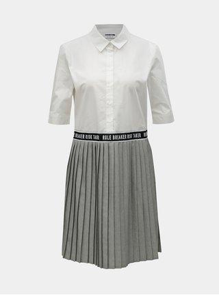 Sivo–biele košeľové šaty so skladanou sukňou Noisy May Mallie