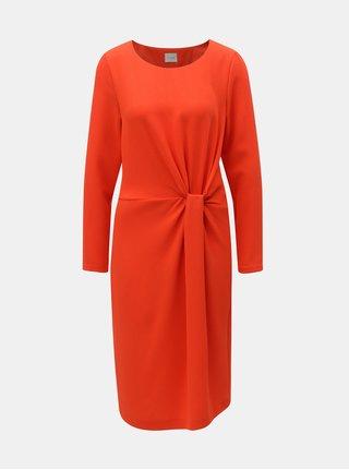 Oranžové šaty s riasením na boku VILA Sealo
