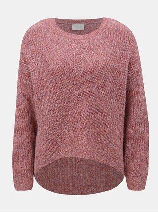 Růžový žíhaný svetr s prodlouženou zadní částí VILA Kaleida