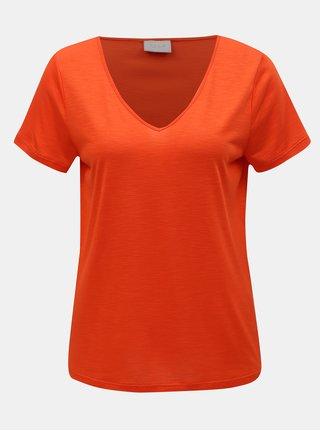 Oranžové tričko s véčkovým výstrihom VILA Noel
