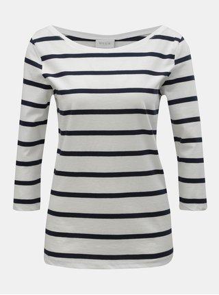 Modro–biele pruhované tričko s 3/4 rukávom VILA Striped