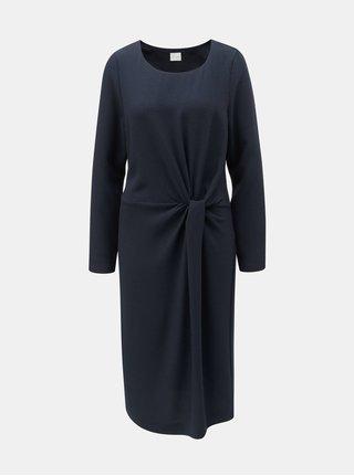 3a36f21930e Tmavě modré šaty s řasením na boku VILA Sealo
