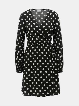 1eb60bf1c5a Bílo-černé puntíkované zavinovací šaty VILA Dotla