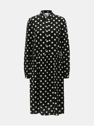 Rochie tip camasa alb-negru cu buline VILA Dotla