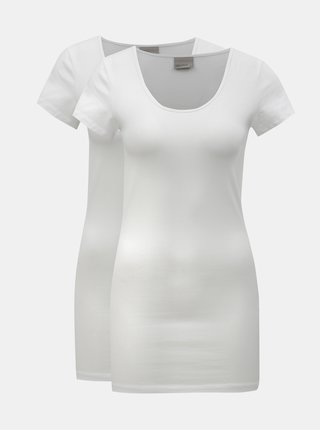 Balenie dvoch dlhých tričiek v bielej farbe VERO MODA Maxi