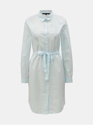 Rochie tip camasa alb-albastru in dungi cu cordon VERO MODA Silje