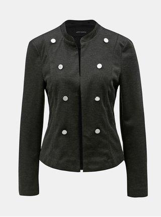 Tmavě šedé žíhané sako s knoflíky VERO MODA Tailor