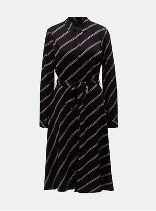 Čierne košeľové pruhované midišaty VERO MODA Lisa