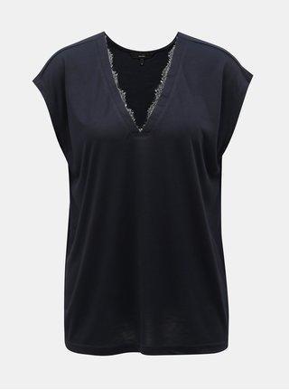 Tmavomodré tričko s čipkovanými detailmi VERO MODA Carrie