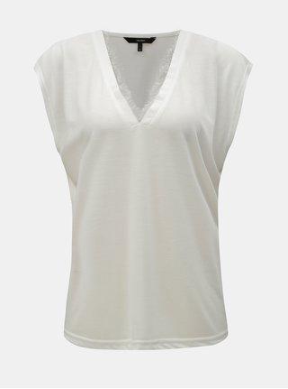 Krémové tričko s čipkovanými detailmi VERO MODA Carrie