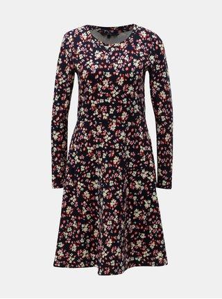 Tmavomodré kvetované šaty VERO MODA Gerda