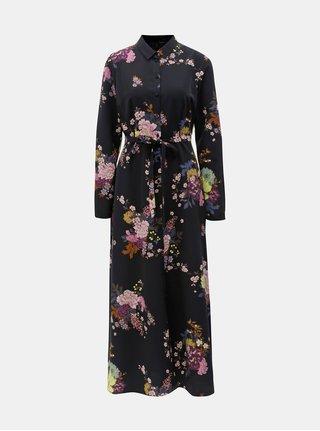 Tmavomodré kvetované košeľové šaty VERO MODA Mikka