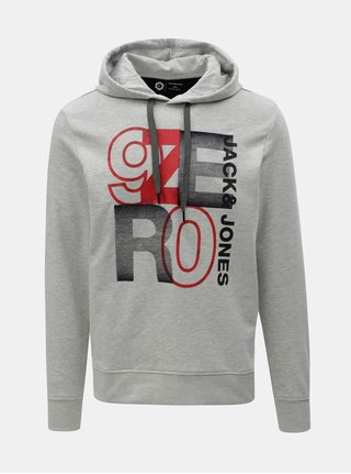 Hanorac gri deschis melanj cu imprimeu Jack & Jones Tilly