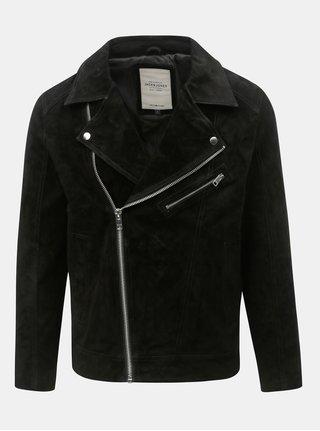 Jacheta biker neagra din piele intoarsa Jack & Jones Dane