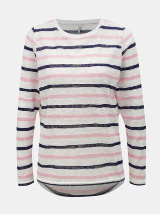 Ružovo–biele pruhované tričko ONLY Dina