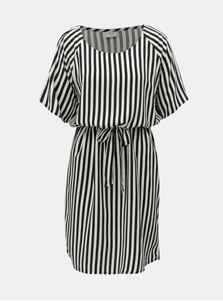Rochie alb-negru in dungi cu cordon Jacqueline de Yong Isha