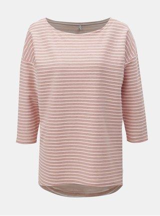 Tricou alb-roz in dungi cu maneci 3/4 ONLY Elly