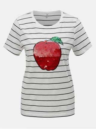 Bílé pruhované tričko s flitry ONLY Kita