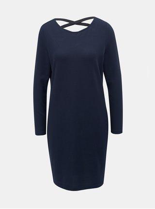 Rochie albastru inchis tricotata cu barete la spate Jacqueline de Yong Emily
