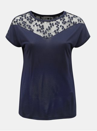 Tmavomodré tričko s čipkou ONLY CARMAKOMA Linn