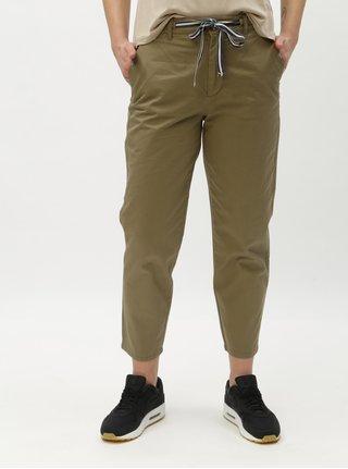 Khaki zkrácené kalhoty se zavazováním ONLY Nevada