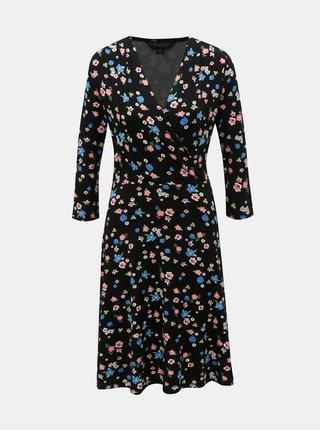 Rochie neagra florala cu decolteu suprapus Dorothy Perkins