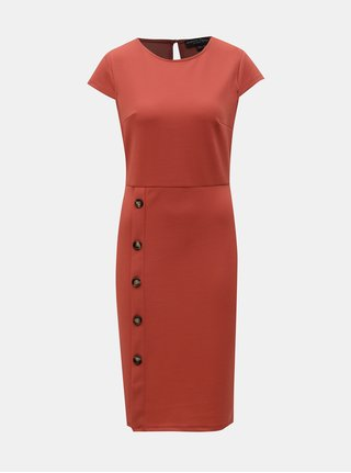 Tehlové puzdrové šaty s gombíkmi Dorothy Perkins