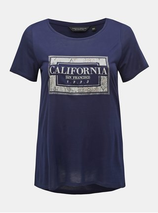 Tricou albastru inchis cu imprimeu Dorothy Perkins Curve
