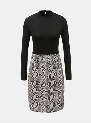 b23ea27cd0a Béžovo-černé šaty s hadím vzorem Dorothy Perkins