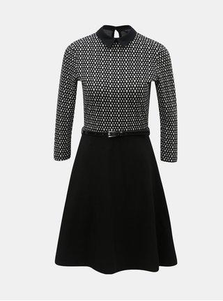 Bielo–čierne vzorované šaty s opaskom Dorothy Perkins