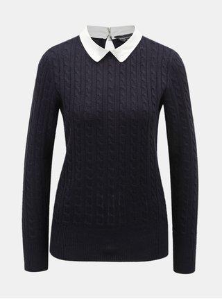 Tmavomodrý sveter s golierikom Dorothy Perkins