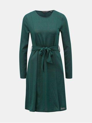 Tmavě zelené svetrové šaty s páskem Dorothy Perkins