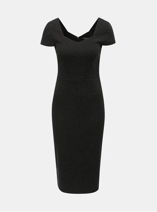 Čierne bodkované puzdrové šaty Dorothy Perkins