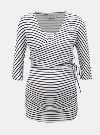 Modro–biele pruhované tehotenské tričko so zaväzovaním vhodné na dojčenie Dorothy Perkins Maternity