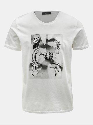 Tricou alb cu imprimeu Selected Homme