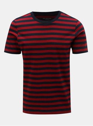 Tricou basic rosu-albastru in dungi Selected Homme