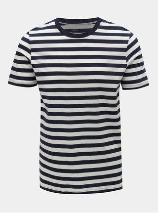 Bílo-modré pruhované basic tričko Selected Homme