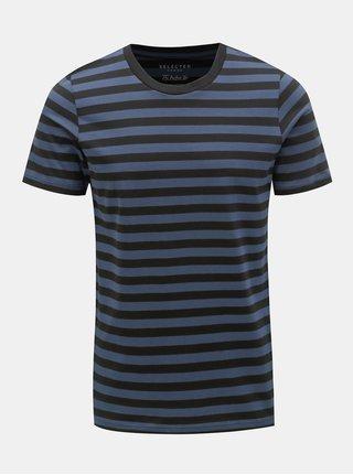 Tricou basic albastru-negru in dungi Selected Homme