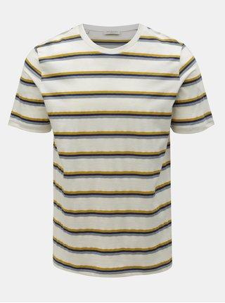 Krémové pruhované tričko Selected Homme