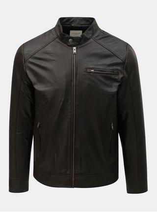 Tmavě hnědá kožená bunda Selected Homme Classic
