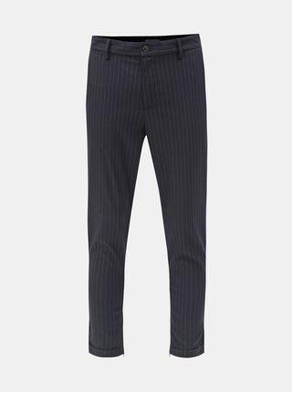 Tmavomodré pruhované skrátené nohavice Selected Homme Alex